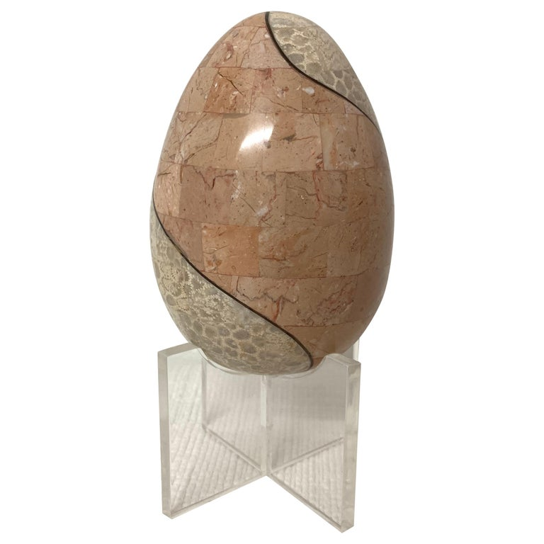 Maitland Smith Tessellated Marble and Bronze Egg on Lucite Stand For Sale