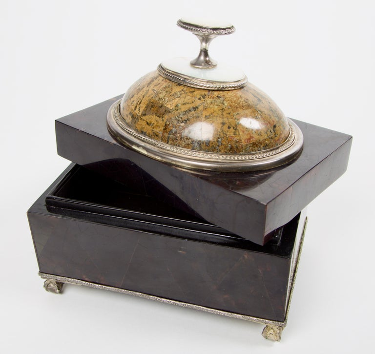 Maitland Smith Tessellated Marble and Tortoise Shell Box In Good Condition For Sale In Los Angeles, CA