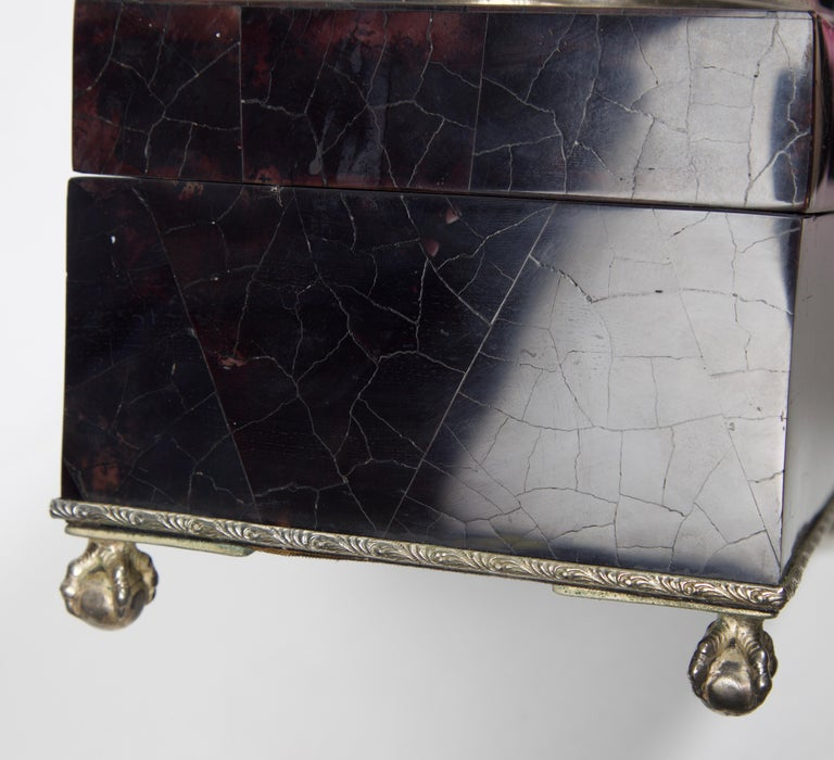 Maitland Smith Tessellated Marble and Tortoise Shell Box For Sale 1