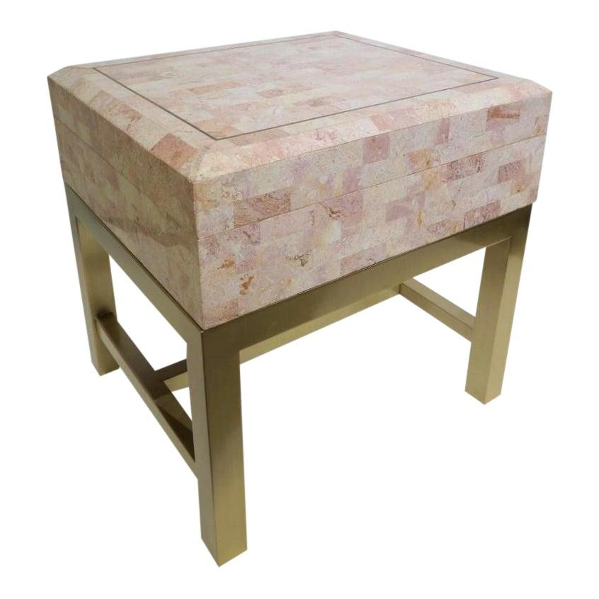Maitland Smith Tessellated Marble Box on Stand