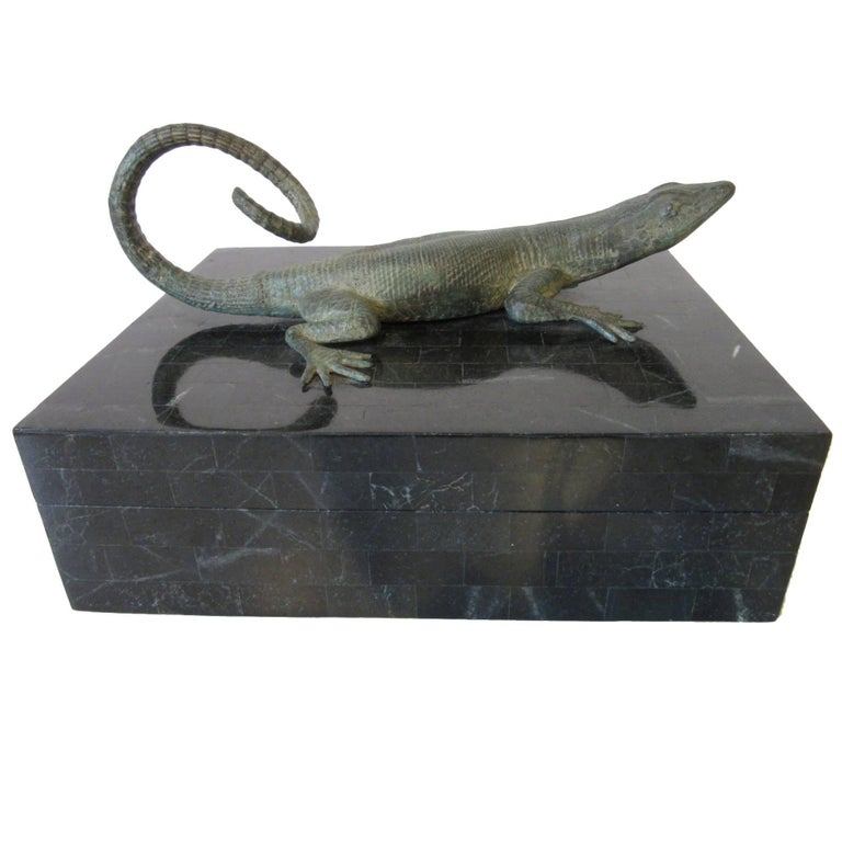 Maitland-Smith Tessellated Marble Decorative Reptile Box