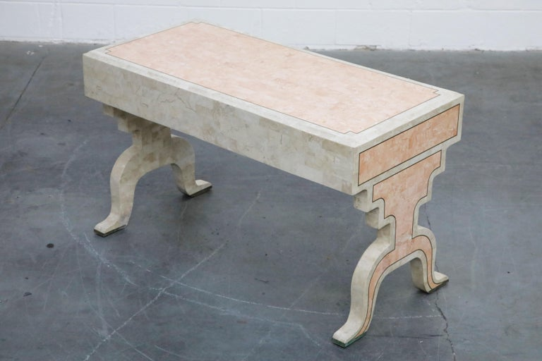Maitland Smith Tessellated Pink Marble and Brass Inlay Desk, circa 1980 For Sale 4