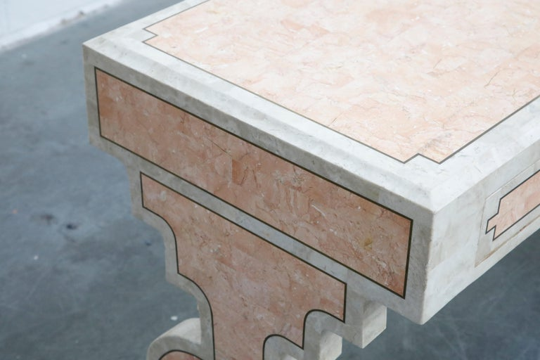 Maitland Smith Tessellated Pink Marble and Brass Inlay Desk, circa 1980 For Sale 5