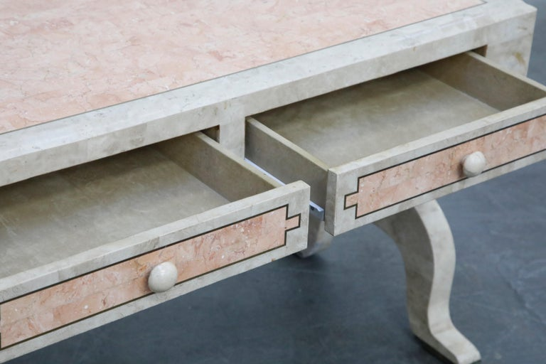 Maitland Smith Tessellated Pink Marble and Brass Inlay Desk, circa 1980 For Sale 8