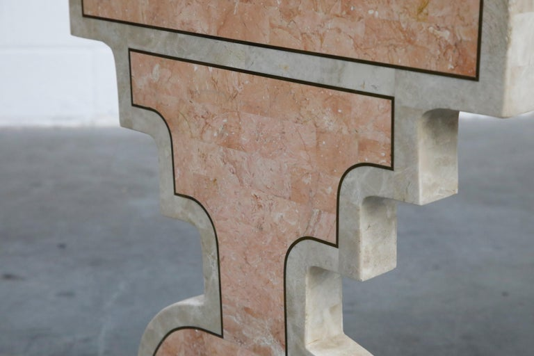 Maitland Smith Tessellated Pink Marble and Brass Inlay Desk, circa 1980 For Sale 9