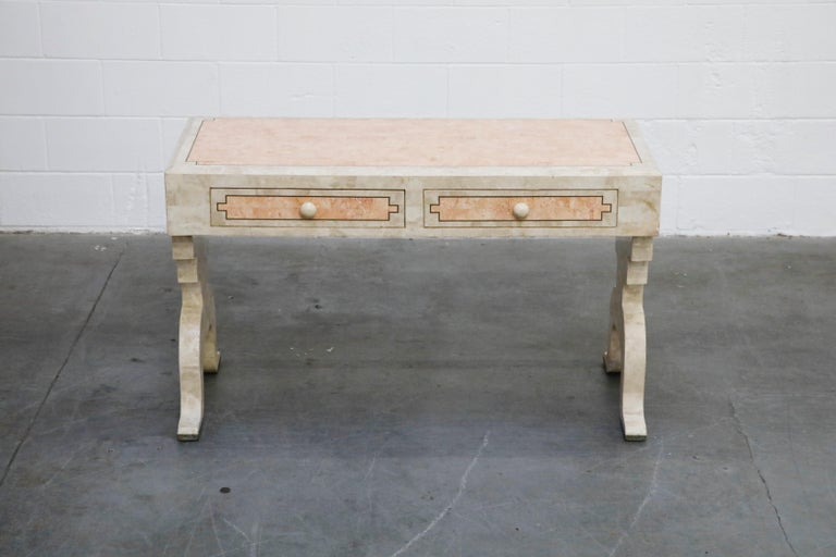 Regency Maitland Smith Tessellated Pink Marble and Brass Inlay Desk, circa 1980 For Sale