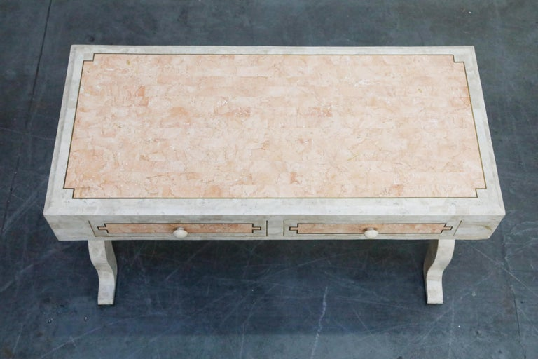 Philippine Maitland Smith Tessellated Pink Marble and Brass Inlay Desk, circa 1980 For Sale