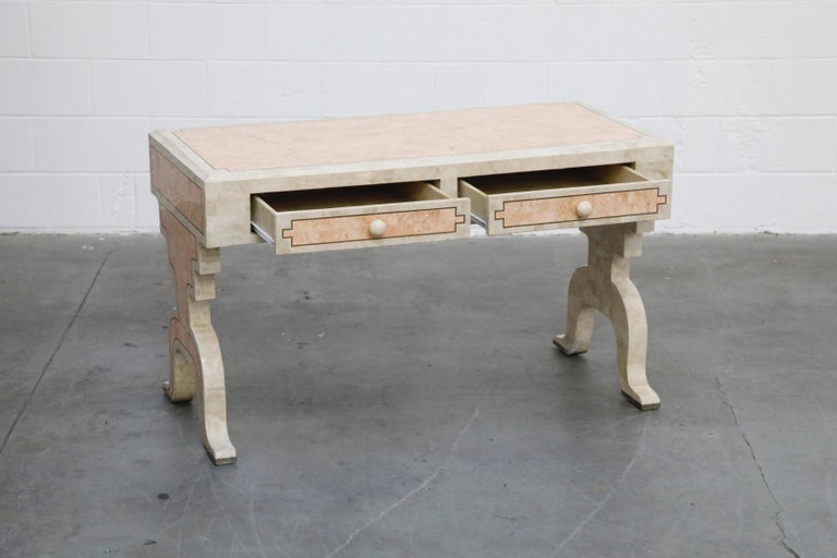 Late 20th Century Maitland Smith Tessellated Pink Marble and Brass Inlay Desk, circa 1980 For Sale