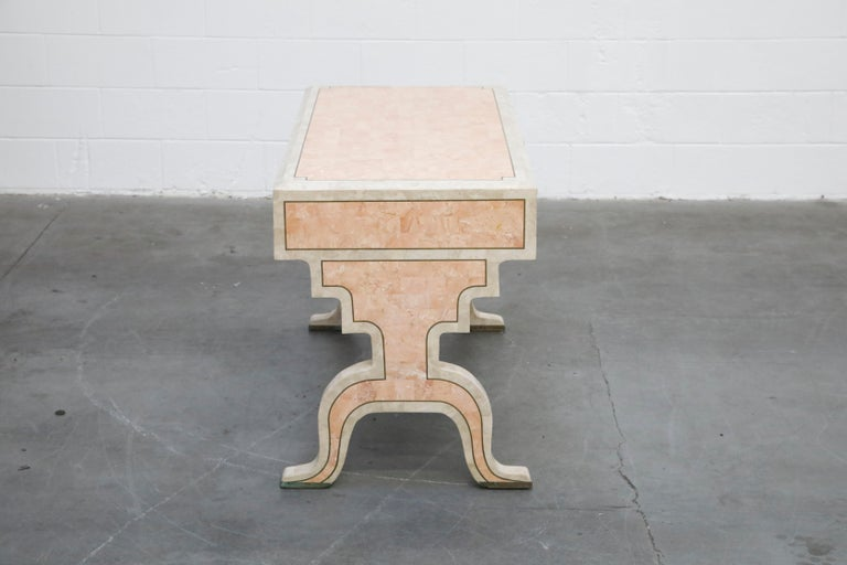 Maitland Smith Tessellated Pink Marble and Brass Inlay Desk, circa 1980 For Sale 2