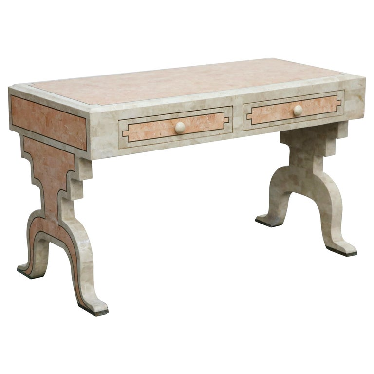 Maitland Smith Tessellated Pink Marble and Brass Inlay Desk, circa 1980 For Sale