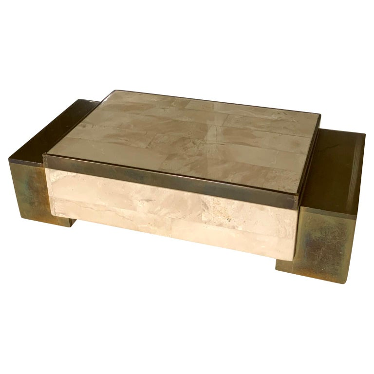 Mid-Century Modern architectural tessellated stone and brass box by Maitland Smith  This box in is designed in a very architectural purposely fashion and intended to highlight your interior design.