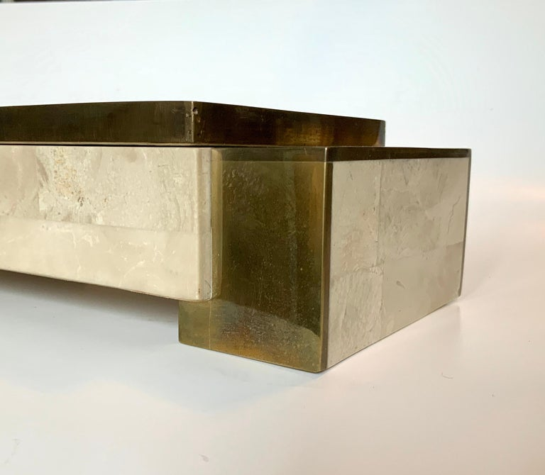 American Maitland Smith Tessellated Stone and Brass Jewelry Box For Sale