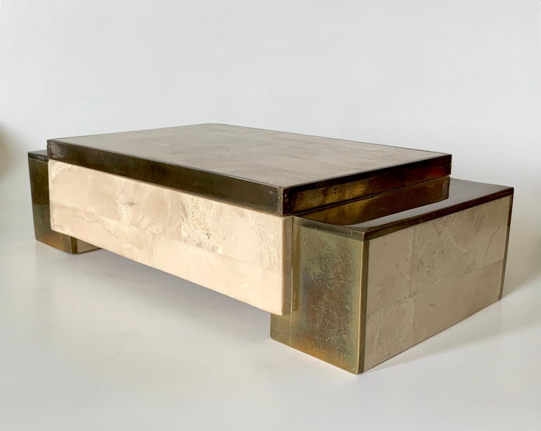 Hand-Crafted Maitland Smith Tessellated Stone and Brass Jewelry Box For Sale
