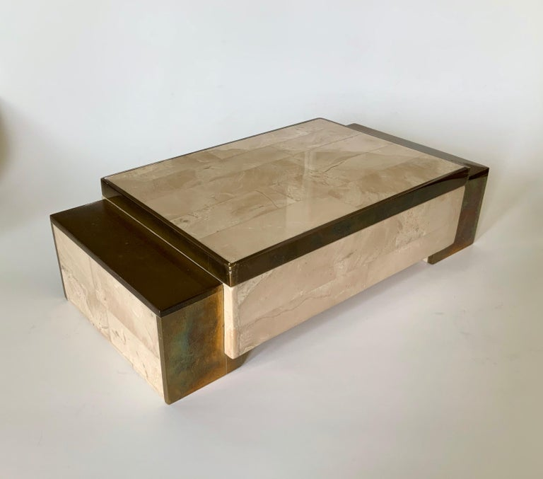 20th Century Maitland Smith Tessellated Stone and Brass Jewelry Box For Sale