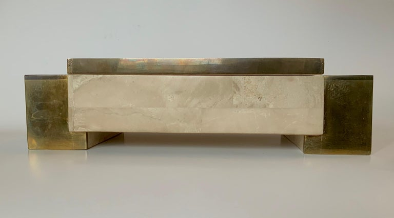 Maitland Smith Tessellated Stone and Brass Jewelry Box For Sale 1