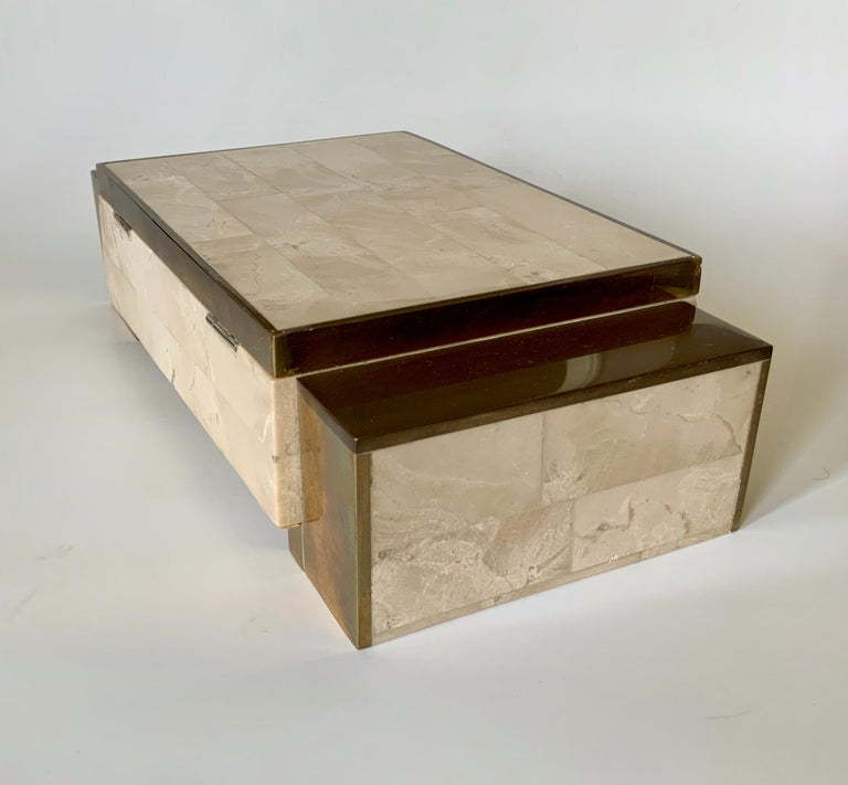 Maitland Smith Tessellated Stone and Brass Jewelry Box For Sale 2
