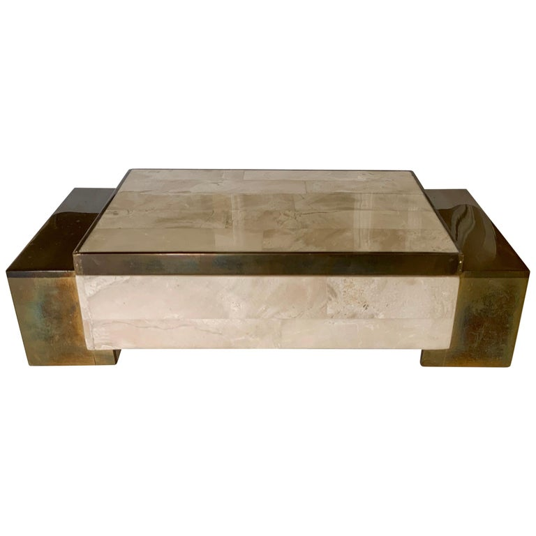 Maitland Smith Tessellated Stone and Brass Jewelry Box For Sale