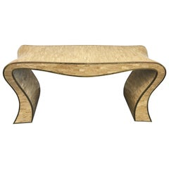 Maitland-Smith Tessellated Stone and Brass Trimmed Sculptural Console Table