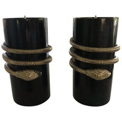 Maitland Smith Tessellated Stone and Metal Snake Motif Candlesticks