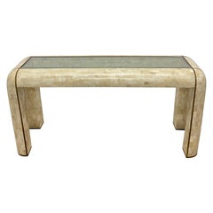 Maitland Smith Tessellated Stone & Brass Inlay Console Table with Glass Insert