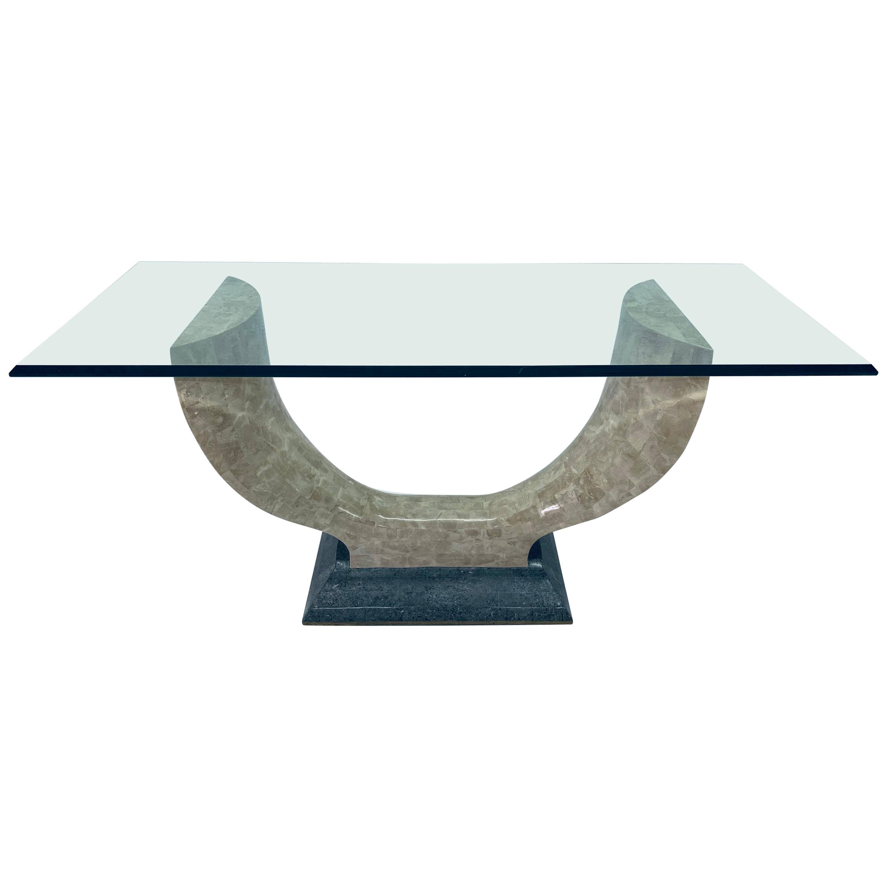 Maitland Smith Tessellated Stone Console Table with Beveled Glass Top