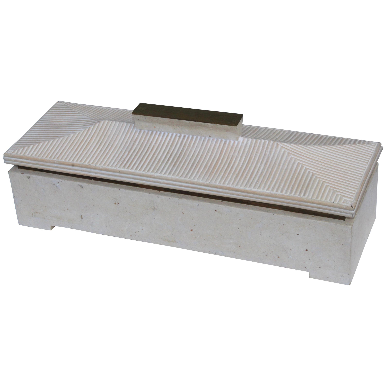 Maitland Smith Tessellated Stone Pagoda Box