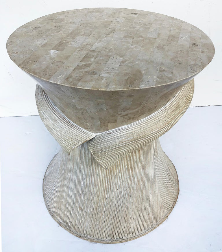Beveled Maitland Smith Tessellated Stone/Reed Dining Table, 1980s For Sale