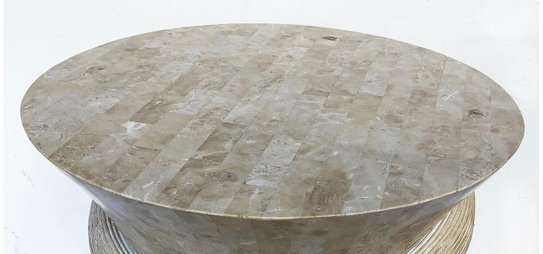 Maitland Smith Tessellated Stone/Reed Dining Table, 1980s In Good Condition For Sale In Miami, FL
