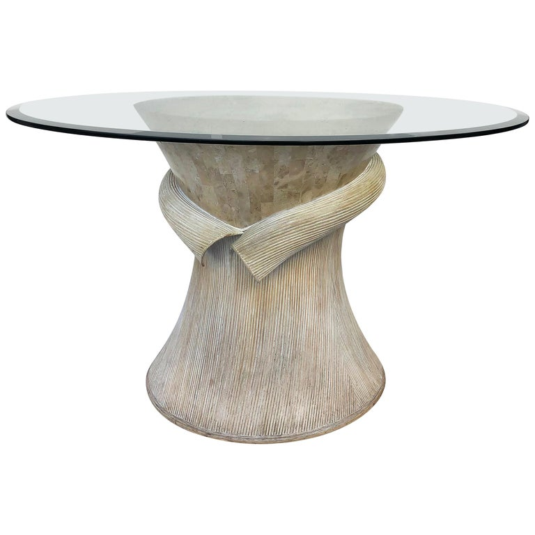 Maitland Smith Tessellated Stone/Reed Dining Table, 1980s For Sale