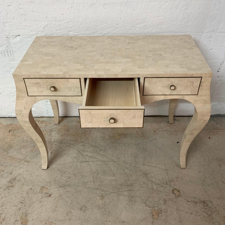 Maitland Smith Tessellated Travertine Coral Stone Desk or Console Table, 1970s For Sale 3