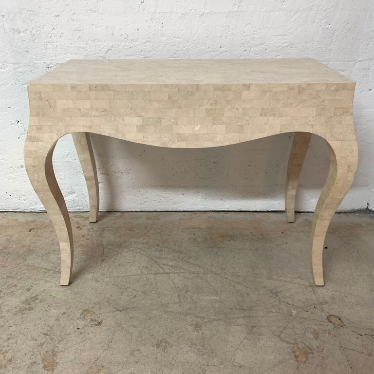 20th Century Maitland Smith Tessellated Travertine Coral Stone Desk or Console Table, 1970s For Sale