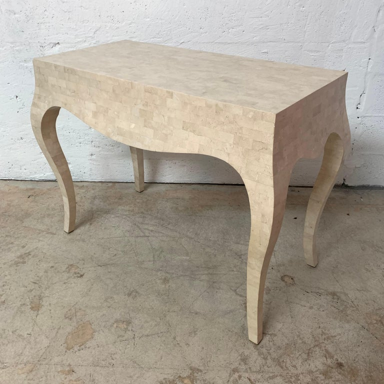 Maitland Smith Tessellated Travertine Coral Stone Desk or Console Table, 1970s For Sale 1