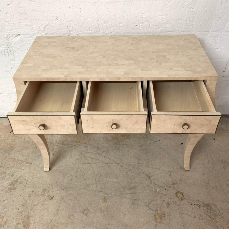 Maitland Smith Tessellated Travertine Coral Stone Desk or Console Table, 1970s For Sale 2