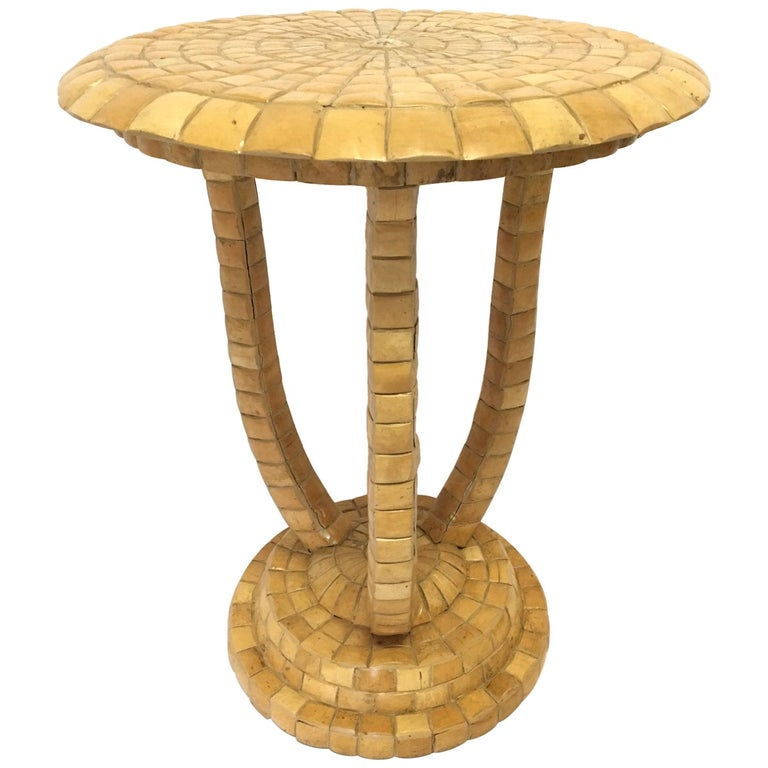 Maitland Smith Tiled Side Table For Sale