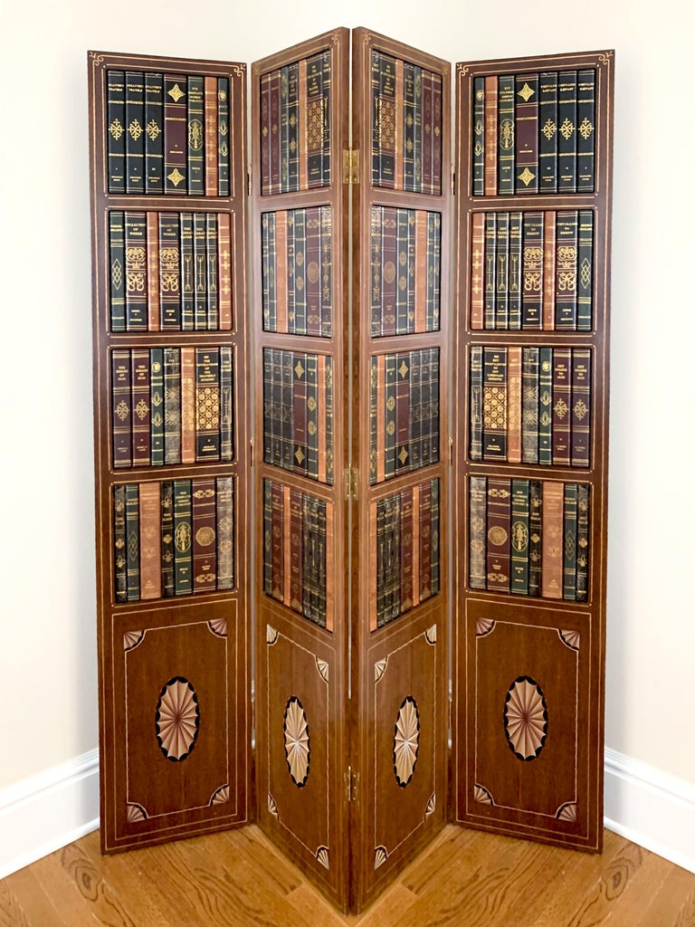 Tooled leather embossed, gilt trompe l'oeil book-form room screen / divider by Maitland Smith, 1980s.
