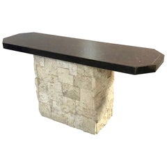 Maitland Smith Travertine and Faux Tortoise Console Table