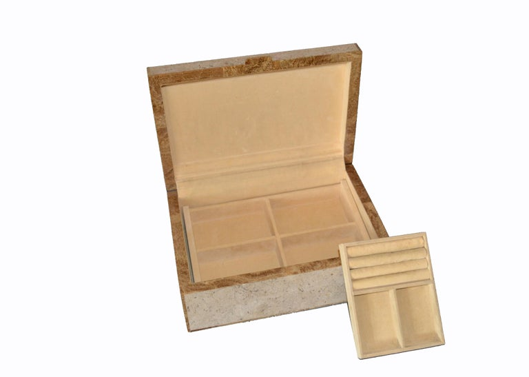 Maitland-Smith Vintage Beige Tessellated Stone and Onyx Decorative Jewelry Box For Sale 3