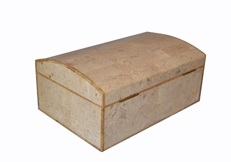 Late 20th Century Maitland-Smith Vintage Beige Tessellated Stone and Onyx Decorative Jewelry Box For Sale