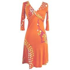 MAJA tangerine color pearl print silk jersey dress Flora Kung NWT
