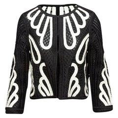 Maje Black & White Embroidered Sheer Jacket