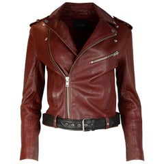 Maje Burgundy Leather Moto Jacket W/ Black Belt Sz 36
