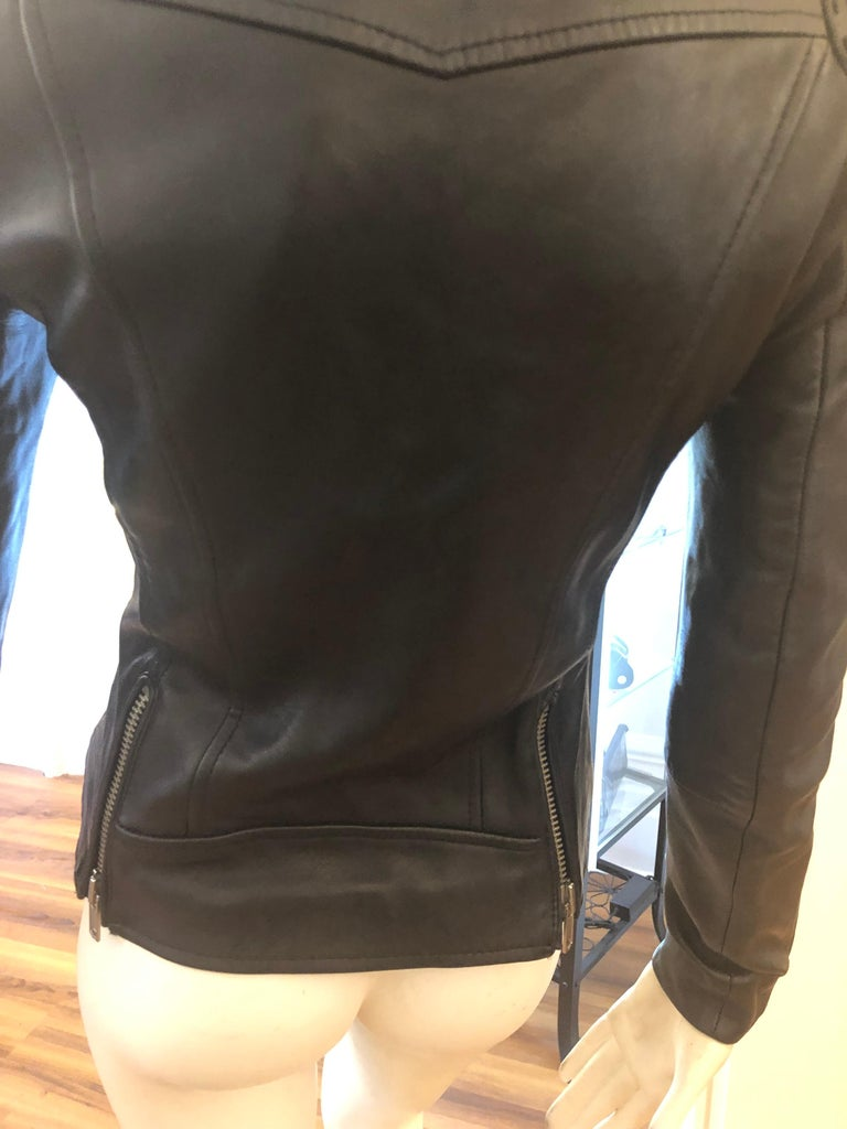 MAJE Buttery Soft Black Leather Jacket w/Woven Leather Shoulders (S) New W/T For Sale 3