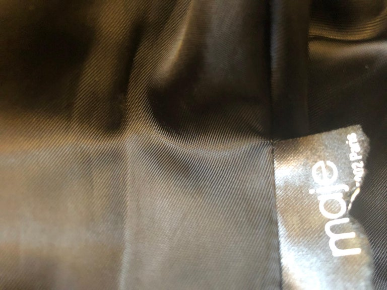 MAJE Buttery Soft Black Leather Jacket w/Woven Leather Shoulders (S) New W/T For Sale 5