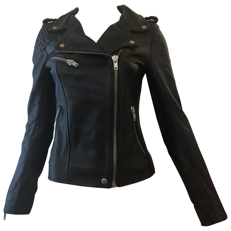 MAJE Buttery Soft Black Leather Jacket w/Woven Leather Shoulders (S) New W/T For Sale