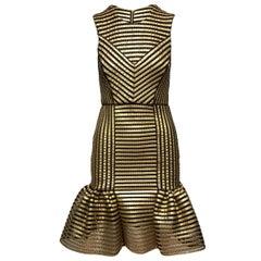 Maje Gold & Black Sleeveless Striped Dress