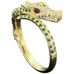 Majestic 18K Solid Gold Dragon Cuff Diamond Ruby Emerald Vintage 1950s Bracelet