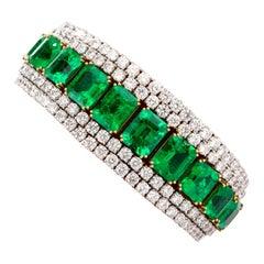 26.19 Carat Colombian and 18.53 Carat Diamond Emerald 18K Bracelet