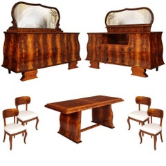 Art Deco Dining Room set, sideboards, table & chairs, Atelier Borsani attributed