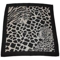 """Majestic Black & Gray Print  """"Leopard and Tiger"""" Silk Crepe di Chine Scarf"""