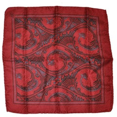 "Majestic Burgundy on Burgundy ""Imperial Swirls"" Silk Handkerchief"